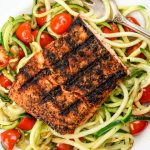 Blackened Salmon with Garlic Zucchini Noodles