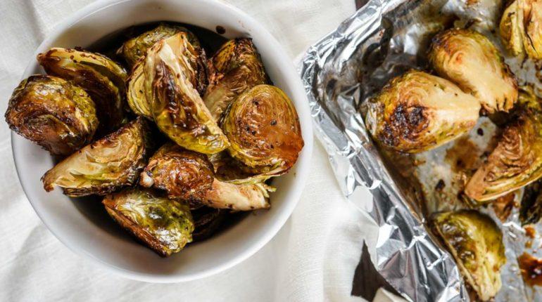 Crispy Balsamic Brussel Sprouts - Slender Kitchen