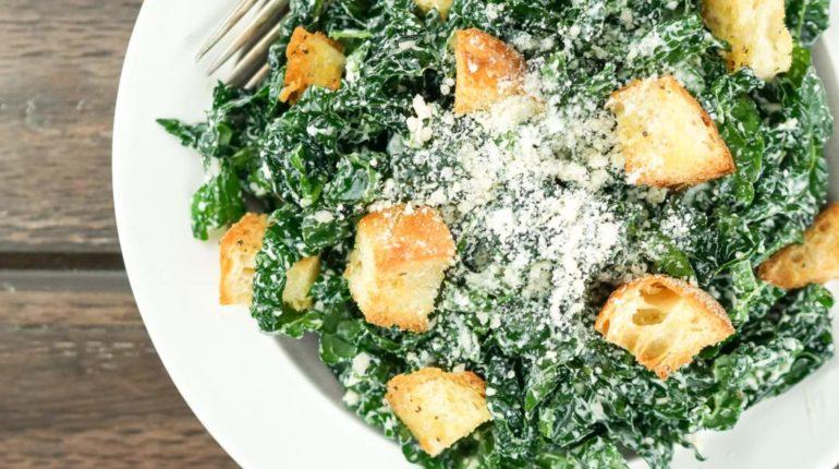 Healthy Kale Caesar Salad - Slender Kitchen