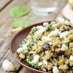 Roasted Eggplant and Quinoa Salad with Feta