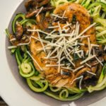 Balsamic Chicken with Garlic Zucchini Noodles