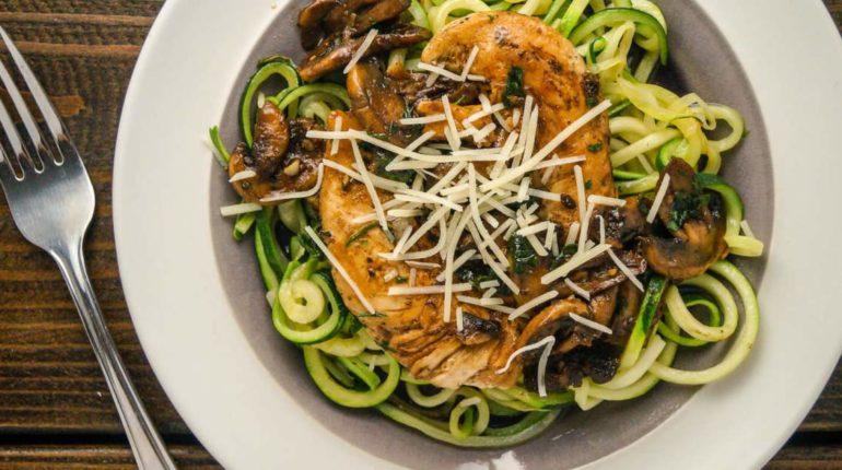 Balsamic Chicken with Garlic Zucchini Noodles
