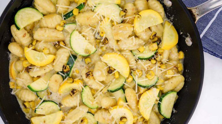 Potato Gnocchi with Zucchini and Corn