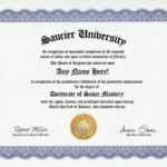 Saucier Degree: Custom Gag Diploma Doctorate Certi…