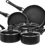 AmazonBasics 8-Piece Non-Stick Cookware Set (Renewed)