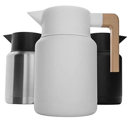 Large Thermal Coffee Carafe – Stainless Steel, Double Walled Thermal Pots For Coffee and Teas by Hastings Collective – White, Vacuum Carafes With Removable Tea Infuser and Strainer | 50 Oz.