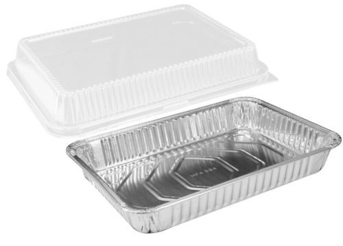 "Handi-Foil 13"" x 9"" Oblong Aluminum Foil Disposable Cake Pan with Clear Dome Lids – HFA REF # 394-WDL (Pack of 50 Sets)"