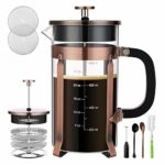 Veken French Press Coffee Maker (8 cups, 34 oz), 304 Stainless Steel Coffee Press with 4 Filter Screens, Durable Easy Clean Heat Resistant Borosilicate Glass – 100% BPA Free