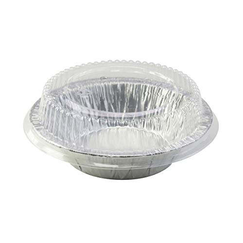 "Disposable Aluminum 5"" Tart Pan/individual Pie Pan w/ Clear Dome Lid #501P (500)"