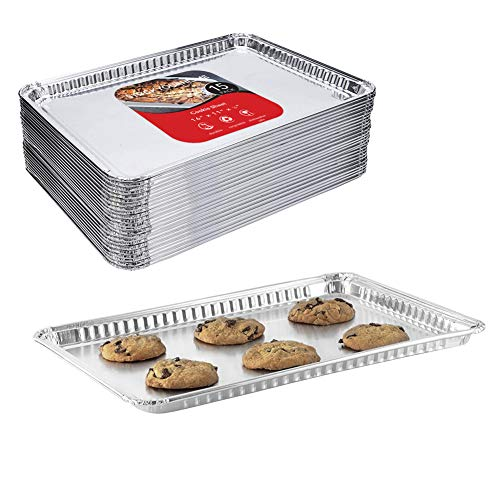 "Aluminum Foil Cookie Sheet (15 Pack) – Disposable Baking Sheet Great for Restaurants, Parties, BBQ, Catering, Baking, Cooking, Heating, Storing, Prepping Food – 16"" x 11 ¼"""