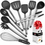 Kitchen Utensil Set – 10 Cooking Utensils – Nonstick Silicone and Stainless Steel Spatula Set – Best Kitchen Tools for Gift