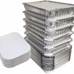 "55 Pack – 2.25 LB Aluminum Pan/Containers with Lids/To Go Containers/Aluminum Pans with Lids/Take Out Containers/Aluminum Foil Food Containers From Spare – 2.25Lb Capacity 8.5"" x 6"" x 1.5"""