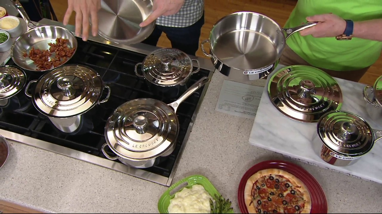 Le Creuset 10-pc Signature Tri-Ply Stainless Steel Cookware Set on QVC
