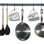 "Kitchen Rail Utensil Organizer & Mug Rack – Wall Mounted Rustic Iron Multi-Purpose Hanging Rack with 10 S Hooks (17"")"