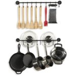 Wallniture Kitchen Pot Racks Set of 2 Wall Rails and 20 Hooks – Solid Steel – Hanging Utensil Organizer 24 Inch Black
