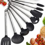 Kitchen Utensil Set – 8 Piece Non-Stick Cooking Utensils & Spatulas – Silicone & Stainless Steel – Safe for Pots & Pans – Serving Tongs, Spoon, Spatula Tools, Pasta Server, Ladle, Strainer, Whisk