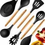 Premium Cooking Utensils Set For Nonstick Cookware – Silicone Kitchen Utensil Set – Heat Resistant Wooden Spoons for Cooking – Silicone Serving Spoons Spatula Set Spaghetti Spoon Rest for Stove Grey