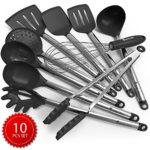Kitchen Cooking Utensil Set – 10 Cooking Utensils – Nonstick Silicone Utensil and Stainless Steel Spatula Set – Best Kitchen Tools and Gadgets for Gift