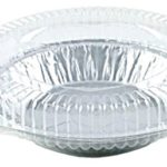 """Pactogo 6"""" Aluminum Foil Mini Pie Pans – Disposable Small Baking Tin Plates with Clear Hinged Containers (Pack of 10 Sets)"""