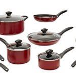 Farberware 21807 Dishwasher Safe Nonstick Cookware Pots and Pans Set, 15 Piece, Red