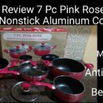 review 7 pc pink rose quality nonstick aluminium cookware l set panci l peralatan dapur